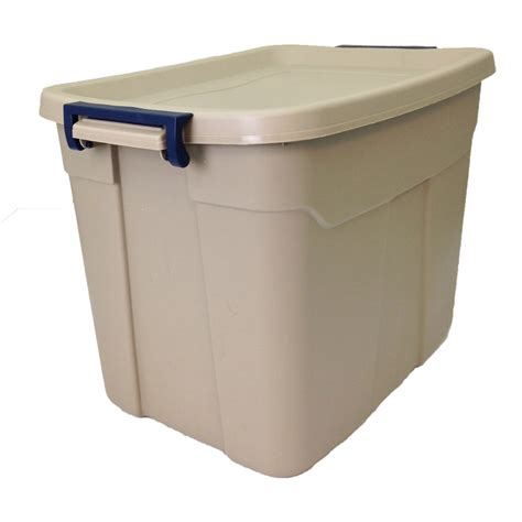 rugged storage containers shop centrex plastics llc rugged tote 18 gallon brown tote with latching lid at lowes