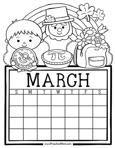 preschool coloring pages for march preschool monthly calendar printables