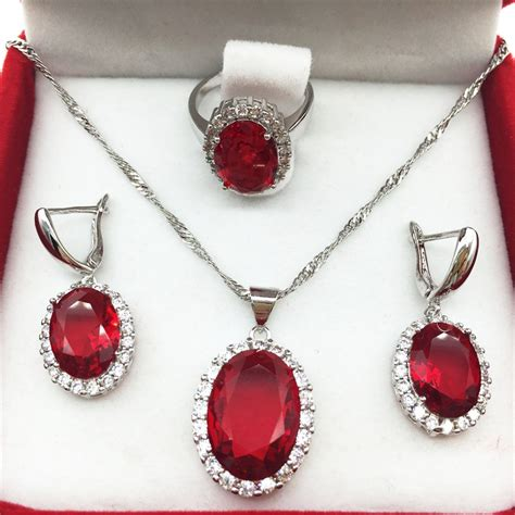 oval ruby sapphire jewelry sets for 925 silver