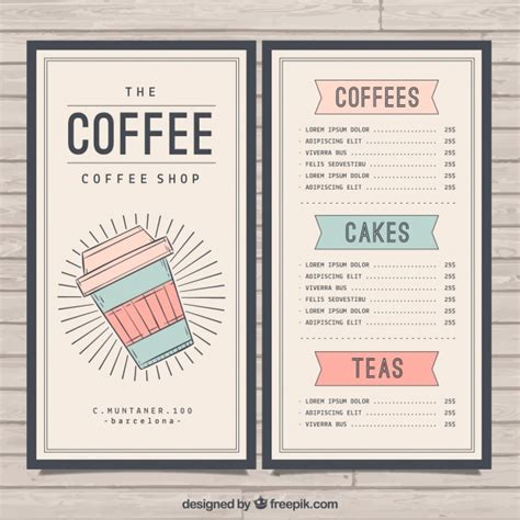 cafe menu template free retro cafe menu template vector free