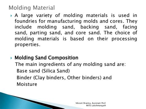 pattern allowances slideshare molding sand