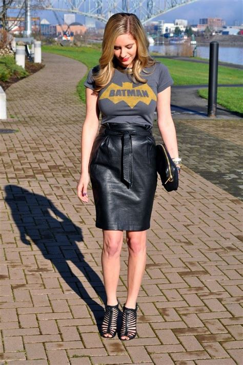 t shirt and leather pencil skirt fashion