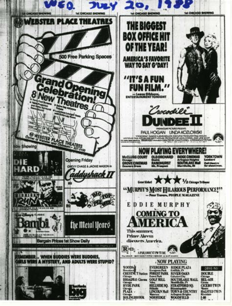 A Place Showtimes Opening Day Ad For Webster Place Theatres July 20 1988 Cinema Treasures