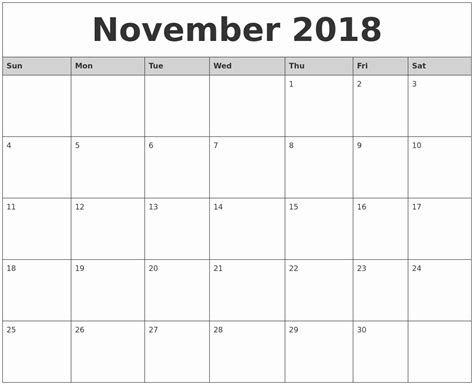 2018 Calendar Template Printable November 2018 Printable Calendar Monthly Calendar Template Monthly Calendar Template 2018