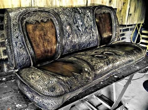 custom leather auto upholstery hand tooled leather custom seat for a show truck original