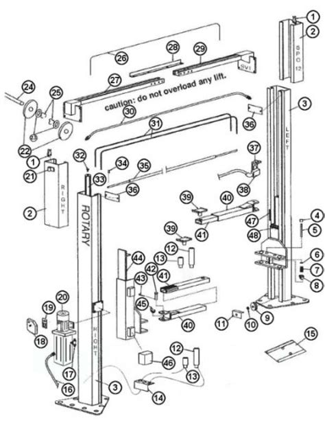 parts breakdown for rotary model spo12 lift svi