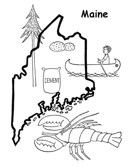 maine state outline coloring page coloring us history