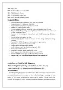 Piping Field Engineer Sle Resume by Piping Field Engineer Sle Resume