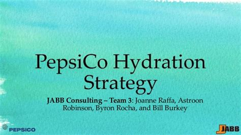 Pepsico Mba by Pace Executive Mba Pepsico Hydration Strategy