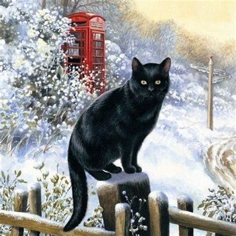 chrissie snelling christmas cats illustration christmas cats black cat art