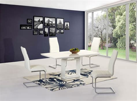 High Table And Chairs Dining Set White High Gloss Extending Dining Table And 4 Chairs Set