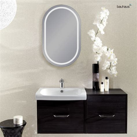 backlit bathroom mirrors uk bauhaus essence backlit oval mirror uk bathrooms