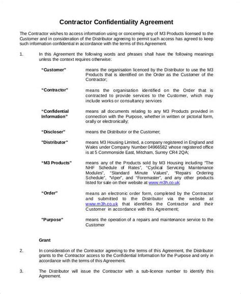 contractor confidentiality agreement template 8 contractor confidentiality agreements free sle