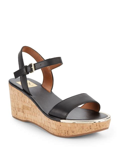dolce vita wedge sandals dv by dolce vita cairy cork wedge sandals in black lyst