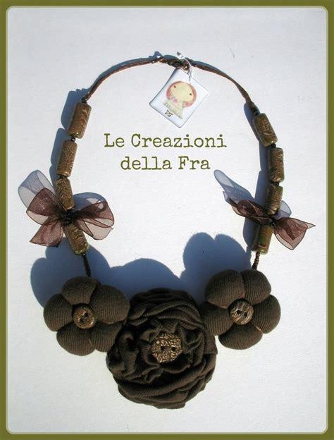 fiori di stoffa per collane collana fiori in tessuto marrone gioielli collane