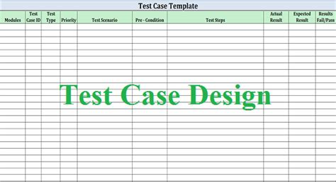 Software Test Design Work For Quality Test Scenario Template