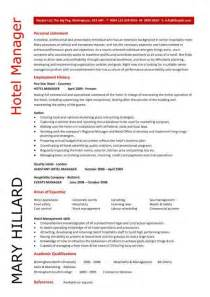 Resume Samples Hotel Management by Hotel Manager Cv Template Job Description Cv Example