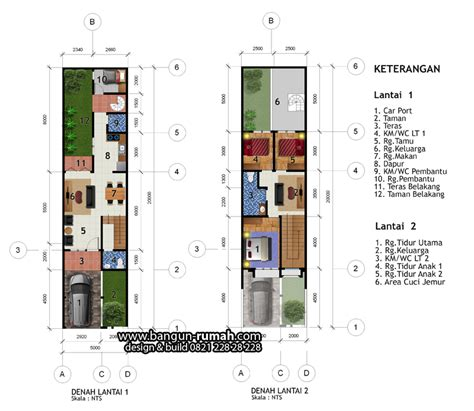 denah rumah lebar  meter   meter desain rumah