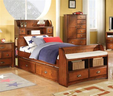 acme furniture brandon oak  piece twin bedroom set  trundle  se contemporary