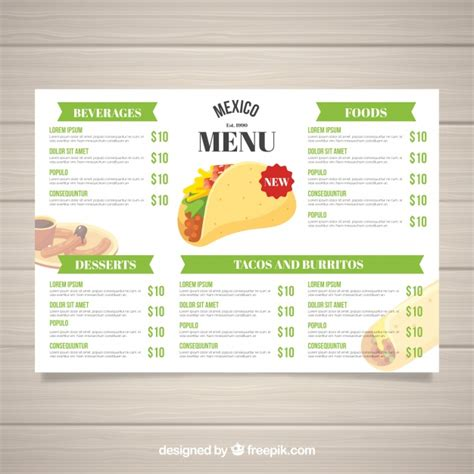 mexican menu template free food vectors photos and psd files free