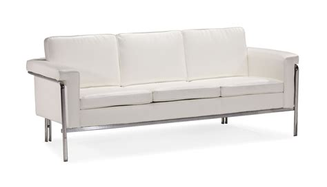 couch or sofa white or black leather contemporary sofa with chrome legs