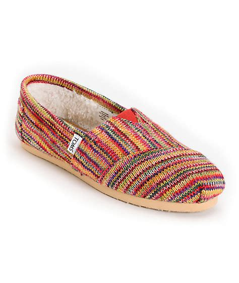 knit toms toms classics womens multi knit shearling shoes