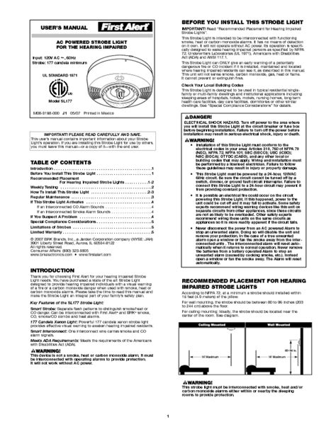 smoke alarm strobe light hearing impaired smoke alarm users guides quot smoke alarm quot page 44
