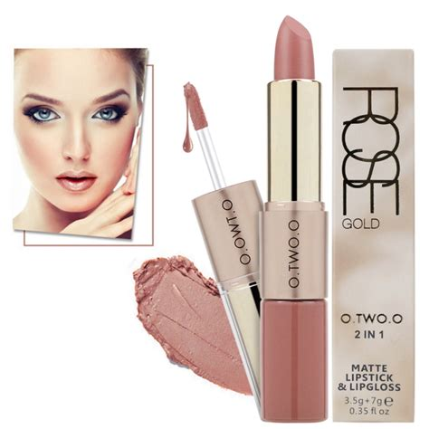 Naked8 Lipgloss Lipstick 2in1 Matte o two o makeup velvet matte lipstick matte liquid lipgloss 2 in 1 batom waterproof lasting