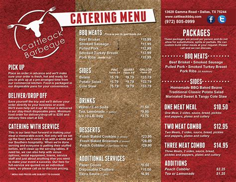 layout for catering menu cattleack barbeque on behance