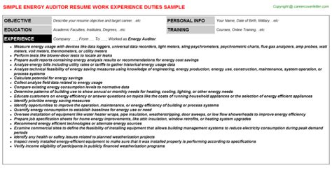 Energy Auditor Sle Resume by Energy Auditor Resume Sle