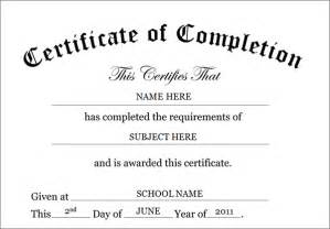 Certificate Of Completion Template Free Printable Certificates Of Completion Sampleprintable Com