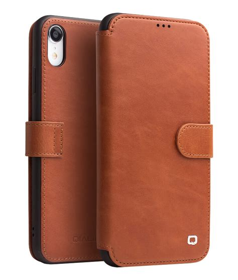 leather magnetic clasp flip for iphone xr qialino