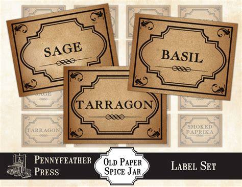 printable vintage spice jar labels printable vintage paper herbs and spices label set stickers
