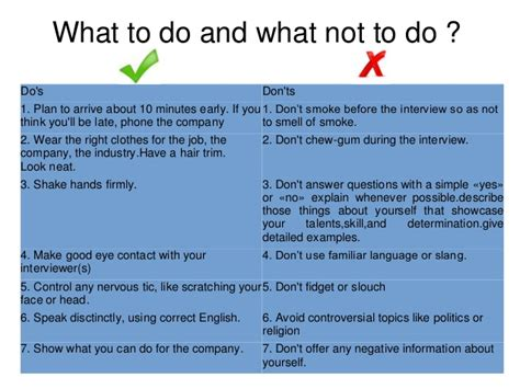 what not to do preparing job interview