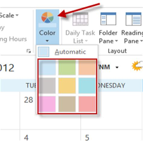 outlook 2013 change color outlook change the calendar color