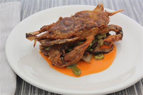 soft shell crabs with spring vegetables emerils com