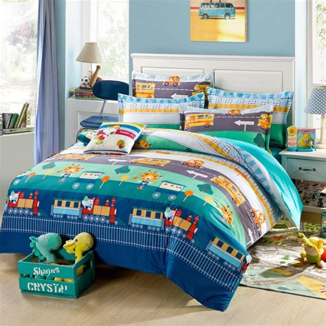 train bedding set aqua teal orange red and navy blue cartoon train and car