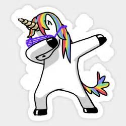 dabbing unicorn unicorn sticker teepublic