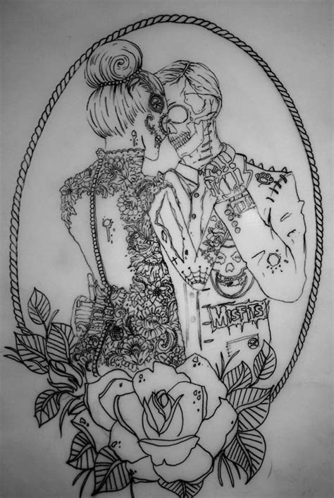 couple tattoo outlines nice outline dancing zombie couple in floral frame tattoo