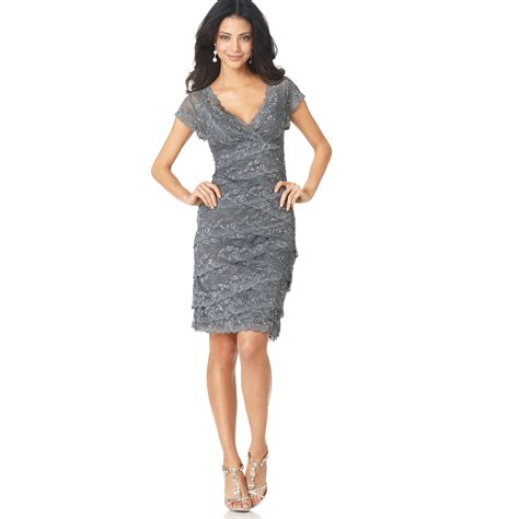 Lace Sleeve Cocktail Dress marina cap sleeve lace cocktail dress in gray lyst