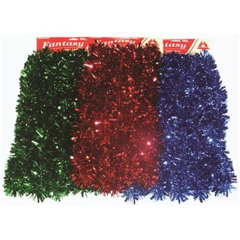 wholesale garland tinsel 15 x2 quot quot quot quot blue red green 4 ea