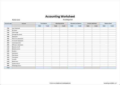 accounting worksheet template double entry bookkeeping