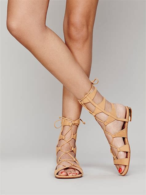 lace up sandals schutz lina lace up sandals in beige lyst
