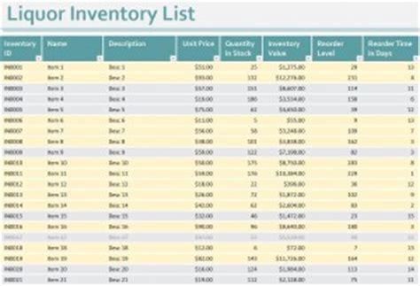 liquor inventory sheet liquor inventory spreadsheet