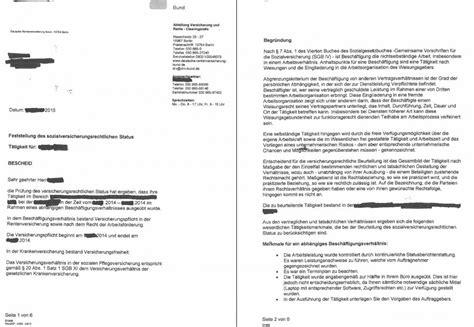 Musterbrief Widerspruch Gegen Reha Bescheid Ablauf Des Statusfeststellungsverfahrens Scheinselbstaendigkeit De