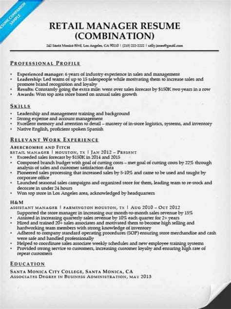 retail manager sle resume retail manager resume sle writing tips resume companion