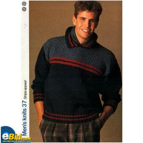 gents sweater knitting pattern gents mans jumper sweater chunky yarn knitting pattern
