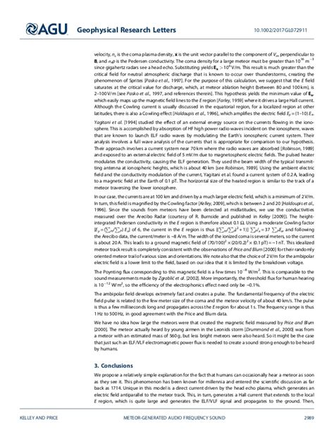 Geophysical Research Letter on the electrophonic generation of audio frequency sound