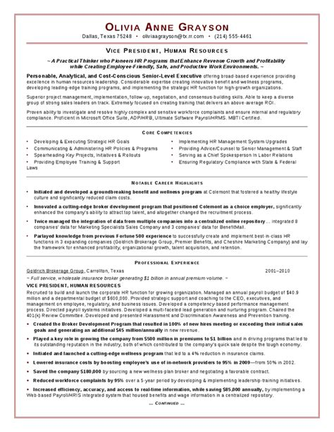 Resume Sles For Hr Executive Executive Hr Resume Hashdoc