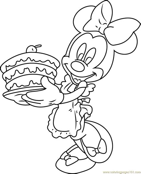 minnie mouse with birthday cake coloring page free